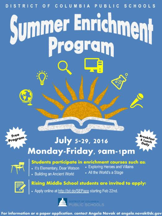 the dcps summer enrichment program sep application is here due 4